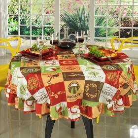 Toalha de Mesa Redonda 160cm - Vegan Laranja - Dui Design