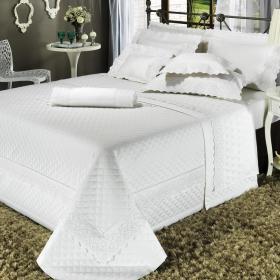 Edredom King Cetim de Algod�o 1.000 fios com Bordado Ingl�s - Veneza Branco - Dui Design