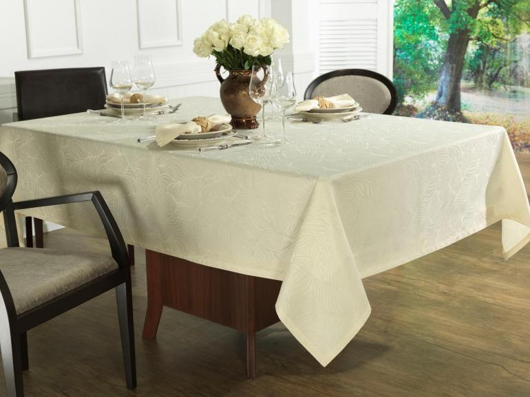 Toalha de Mesa Fácil de Limpar Retangular 6 Lugares 160x220cm - Vernom Champagne - Dui Design