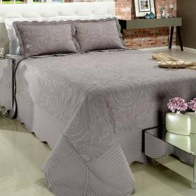 Kit: 1 Cobre-leito King Bouti Bordada de Microfibra + 2 Porta-travesseiros - Viana Stone - Dui Design