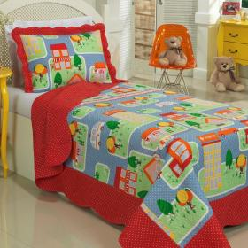 Kit: 1 Cobre-leito Solteiro Kids Bouti de Microfibra PatchWork Ultrasonic + 1 Porta-travesseiro - Vila Multicor - Dui Design
