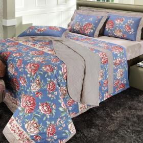 Kit: 1 Cobre-leito Casal + 2 Porta-travesseiros Percal 180 fios - Vict�ria Vintage - Dui Design
