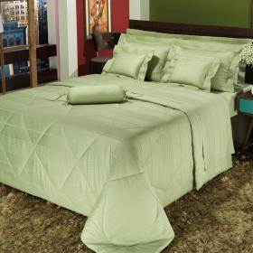 Edredom King Cetim de Algod�o 300 fios - Victorios Verde - Dui Design