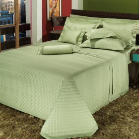 Enxoval Casal com Cobre-leito 7 pe�as Cetim 300 fios - Victorios Verde - Dui Design