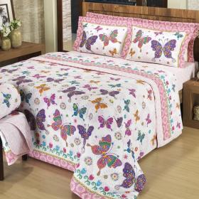 Kit: 1 Cobre-leito Casal + 2 Portas-travesseiro 150 fios - Volare Pink - Dui Design