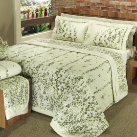 Kit: 1 Cobre-leito Casal + 2 Portas-travesseiro 150 fios - Wendy Verde - Dui Design