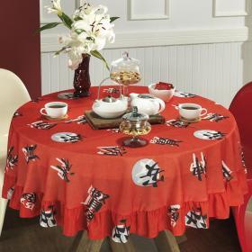 Toalha de Mesa Redonda 160cm - Yuzu Vermelho - Dui Design
