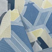 Kit: 1 Cobre-leito Solteiro Bouti de Microfibra Ultrasonic Estampada + 1 Porta-travesseiro - Zigui Azul - Dui Design