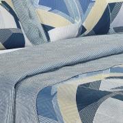 Kit: 1 Cobre-leito Casal Bouti de Microfibra Ultrasonic Estampada + 2 Porta-travesseiros - Zigui Azul - Dui Design