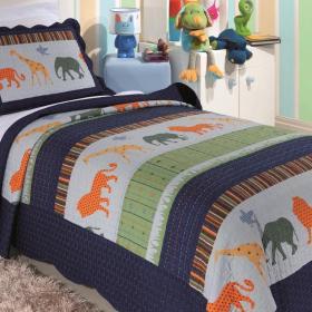 Kit: 1 Cobre-leito Bouti Solteiro Infantil + 1 Porta-travesseiro Microfibra - Zoo - Kacyumara